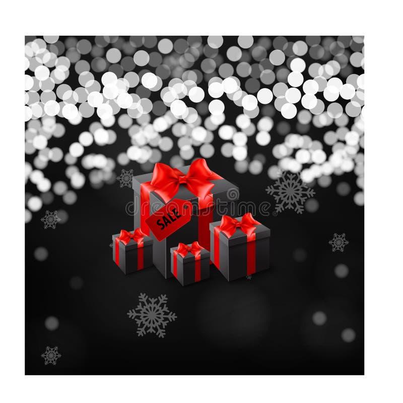 与礼物盒的黑星期五横幅包裹在红色有斑纹的纸和栓与在黑背景的黑弓 向量例证