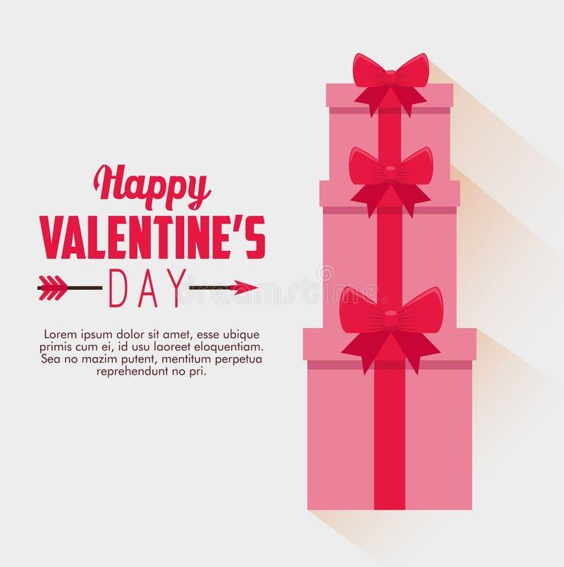 与礼物礼物的愉快的情人节 库存例证
