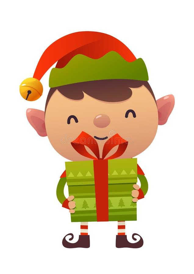 与礼物礼物的愉快的逗人喜爱的动画片圣诞节矮子在白色背景 皇族释放例证