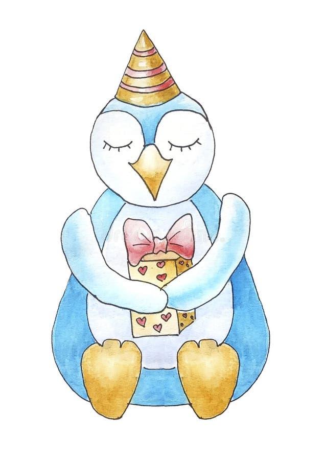 与礼物礼物的生日快乐企鹅 库存例证