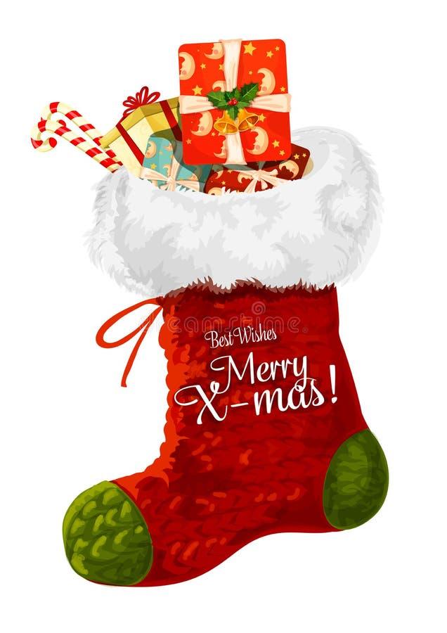 与礼物贺卡设计的圣诞节袜子 向量例证