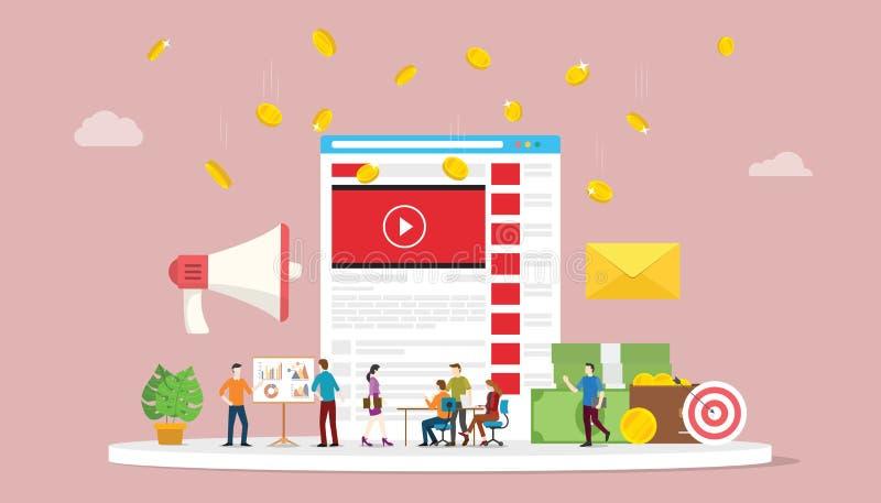 与社会媒介队企业行销的录影市场活动概念与现代样式-传染媒介 向量例证