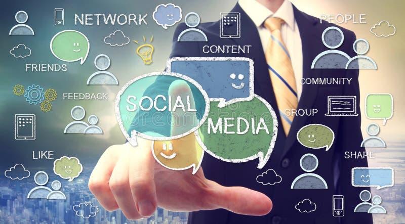 与社会媒介概念的商人 免版税库存照片