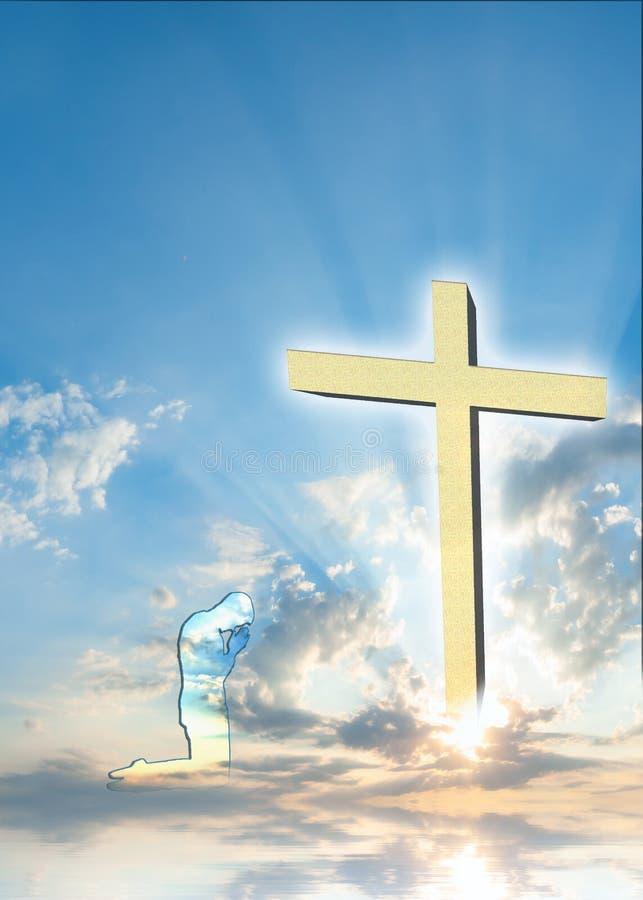 与祈祷的人的基督徒海报背景 免版税图库摄影