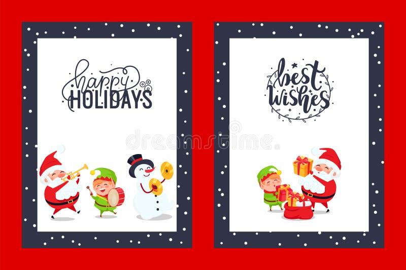 与祝福满满的祝贺欢乐卡片 向量例证