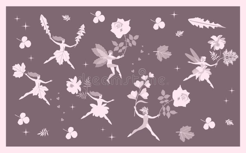 与神仙的葡萄酒卡片和矮子、花和叶子 抽象背景幻想例证向量 库存例证