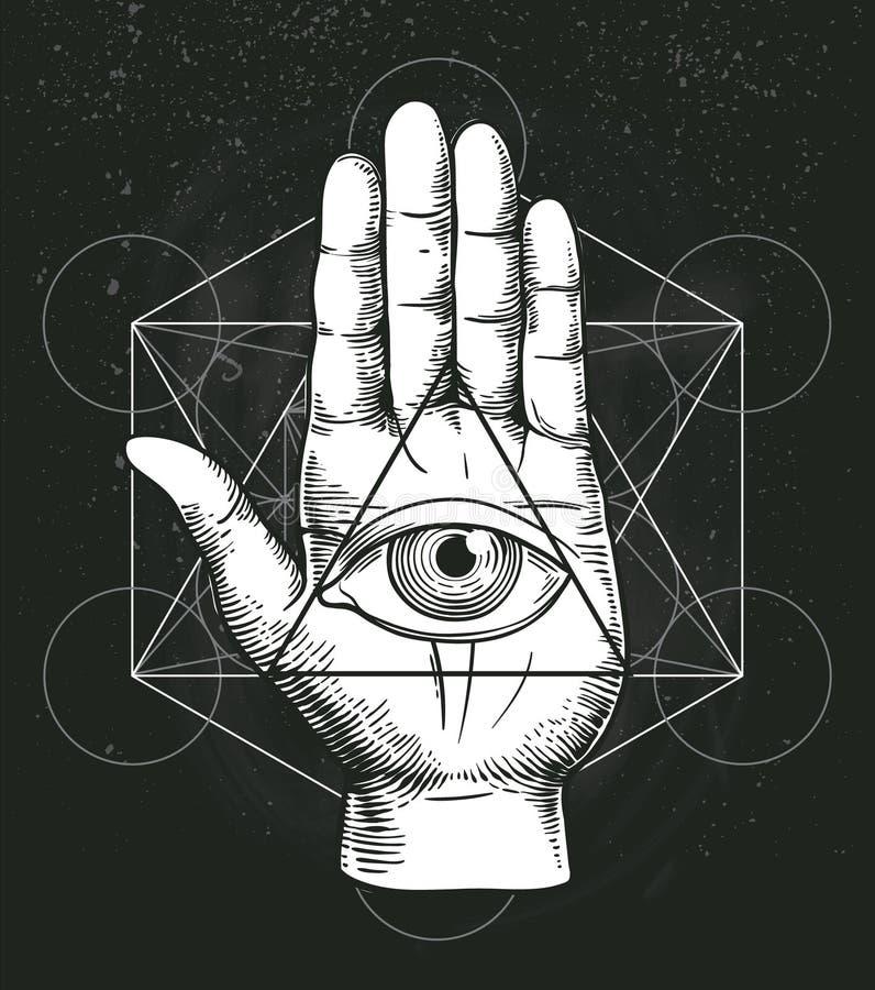与神圣的几何、手和所有看见的眼睛标志的行家例证在三角金字塔里面 共济会的标志 免版税库存照片