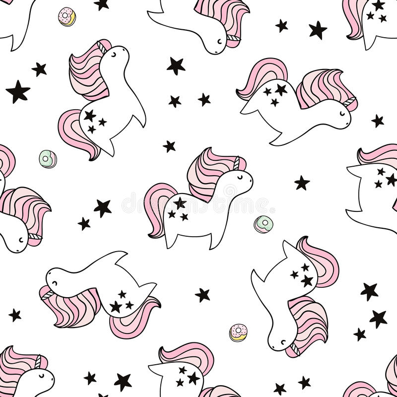 与神仙的独角兽和油炸圈饼的逗人喜爱的无缝的样式 织品的,纺织品幼稚纹理 斯堪的纳维亚样式 皇族释放例证