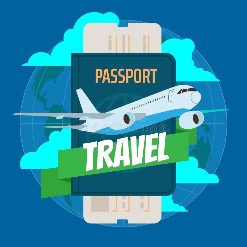与票的护照 旅行的概念 也corel凹道例证向量 向量例证