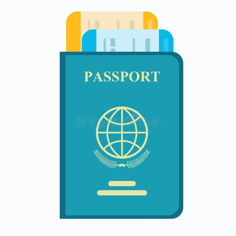 与票的护照 航空旅行概念 向量例证