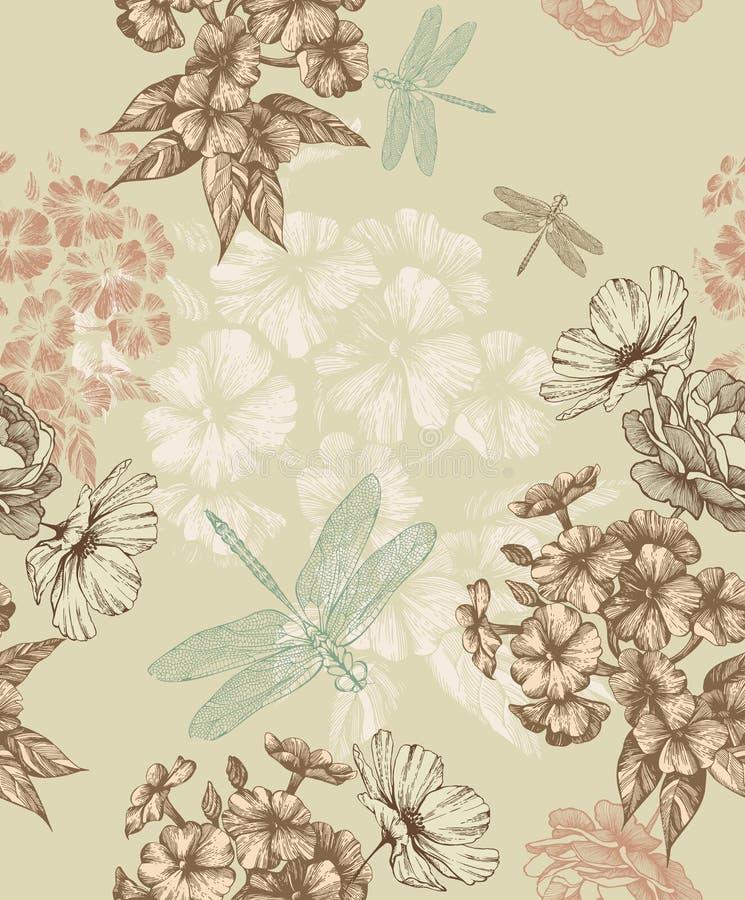 与福禄考和蜻蜓的无缝的花卉墙纸 花卉背景,传染媒介例证 向量例证