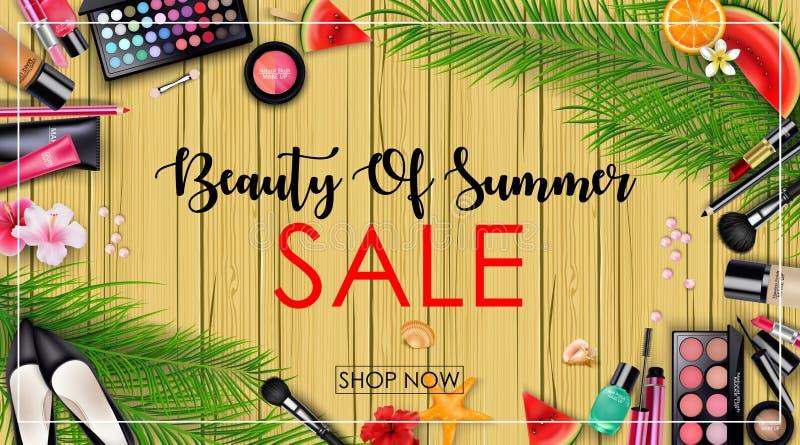 与秀丽和化妆用品背景的夏天销售 向量例证