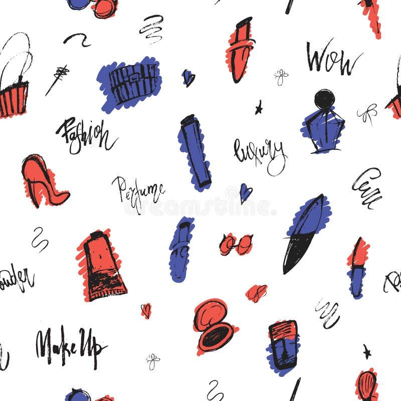 与秀丽项目和徒手画的形状的构成印刷品难看的东西无缝的样式您的促进的 库存例证