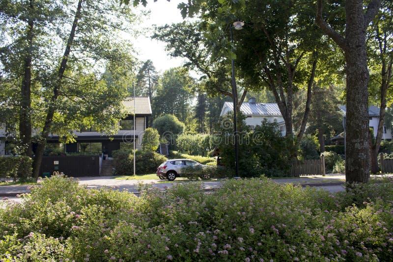 与私有房子的住宅区 免版税库存照片