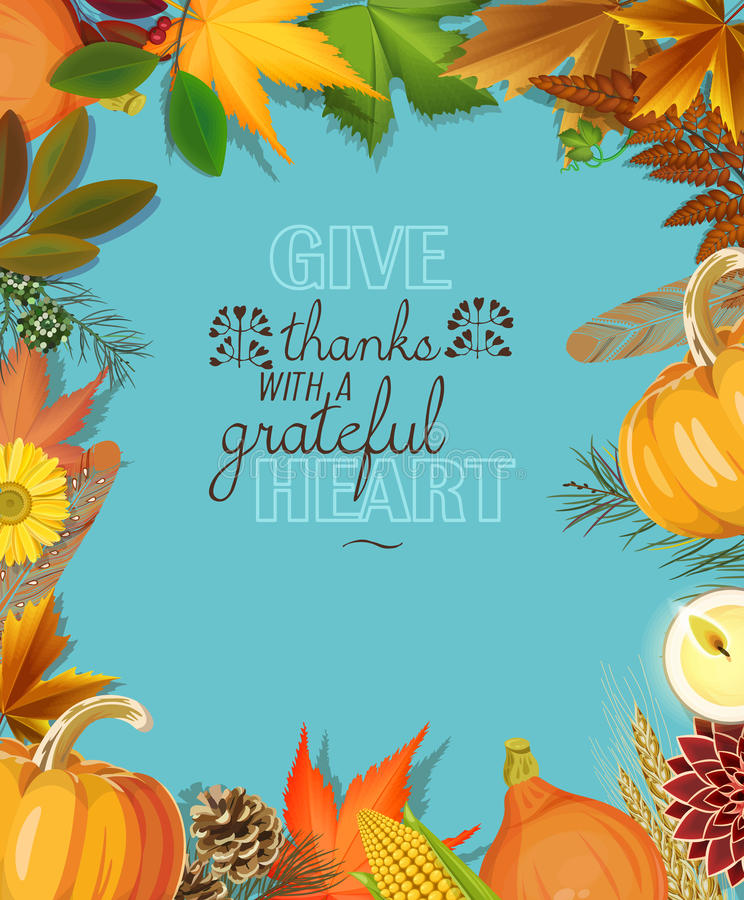 与秋叶和南瓜的愉快的感恩天卡片在蓝色背景 库存例证