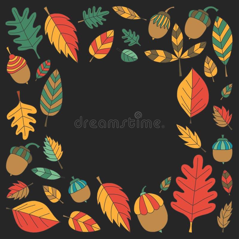 与秋叶橡木Mapple橡子菩提树的样式 皇族释放例证