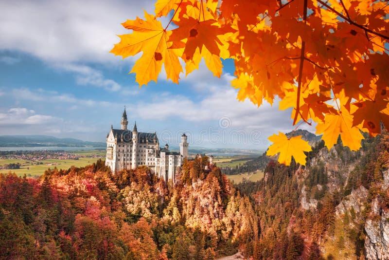 与秋叶的新天鹅堡城堡在巴伐利亚,德国 库存照片