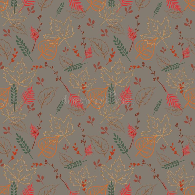 与秋叶的无缝的不对称的样式 库存例证