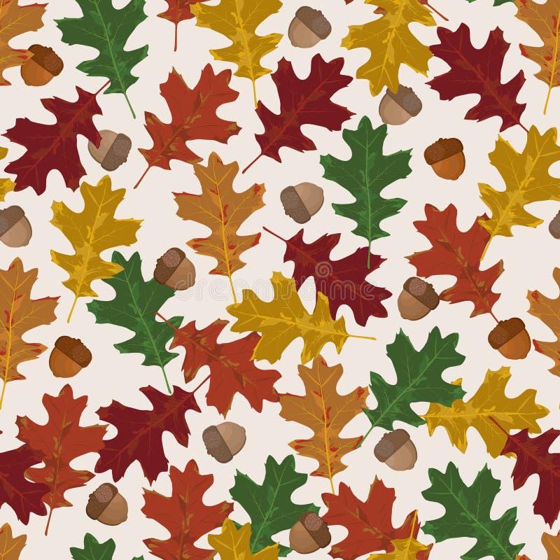 与秋叶的无缝的传染媒介样式在季节性颜色 橡木叶子和橡子在白色背景-传染媒介 向量例证