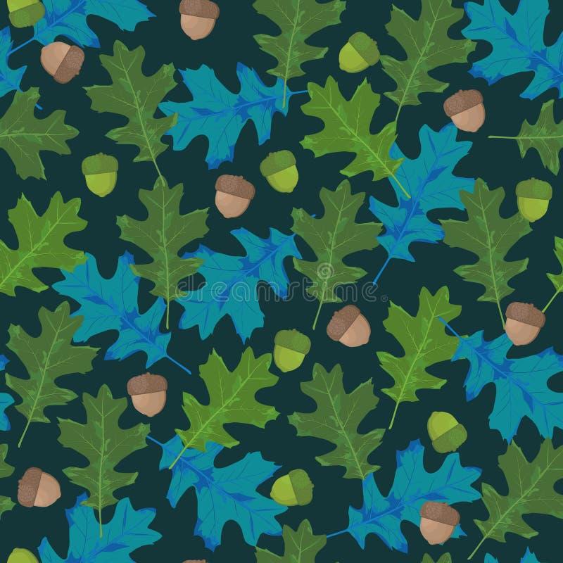 与秋叶的无缝的传染媒介样式在季节性颜色 橡木叶子和橡子在青绿色背景-传染媒介 皇族释放例证