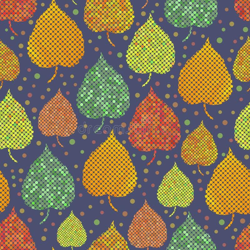 与秋叶的明亮的无缝的背景 库存例证