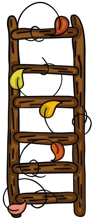 与秋叶的木梯子 皇族释放例证