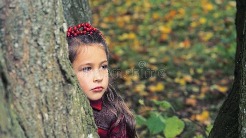 与秋叶的逗人喜爱的可爱的小孩女孩画象在背景的地面上 孩子室外在公园或森林 库存照片
