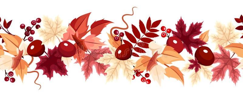 与秋叶的水平的无缝的背景 也corel凹道例证向量 向量例证