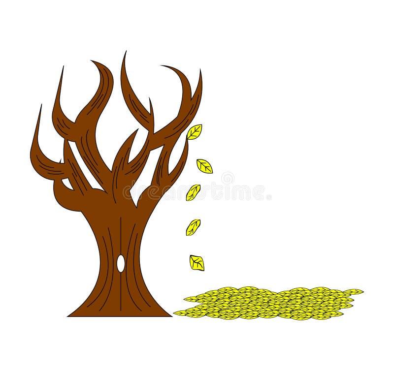 与秋叶落的树 库存例证