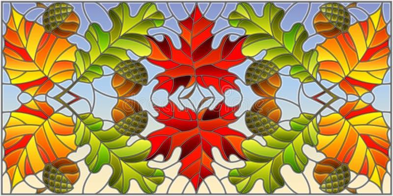 与秋天、叶子、橡木、槭树、白杨木和橡子的彩色玻璃例证在天空背景,水平的取向 皇族释放例证