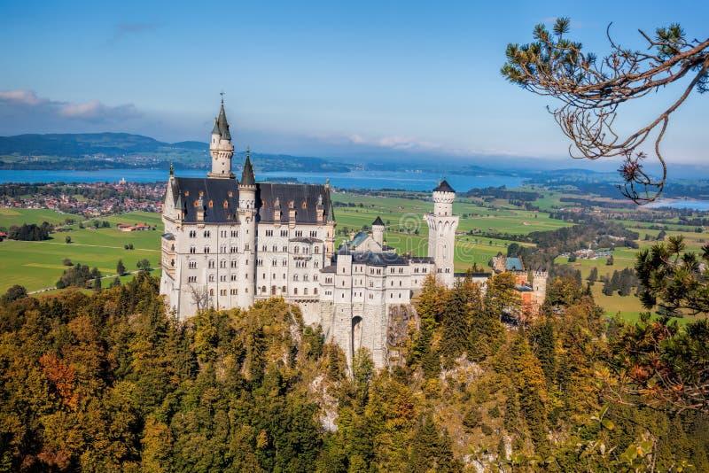 与秋天树的新天鹅堡城堡在巴伐利亚,德国 库存图片