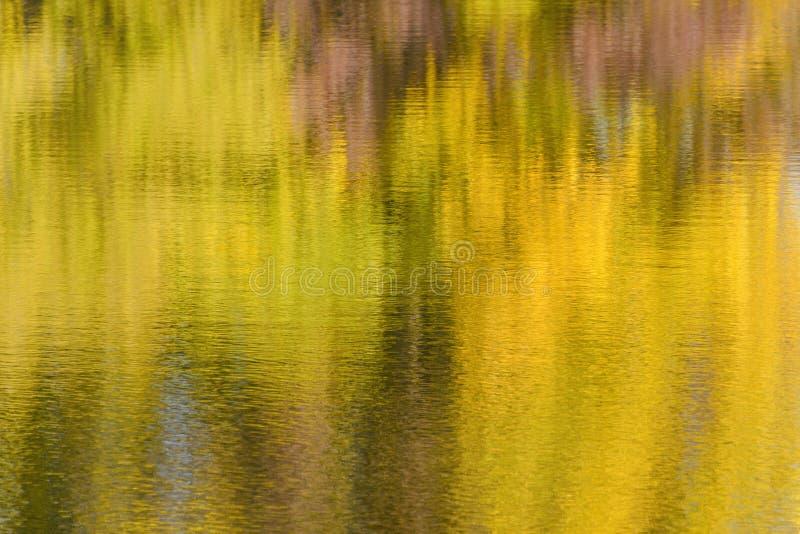 与秋天森林模糊的照片的反射的河水 免版税库存照片
