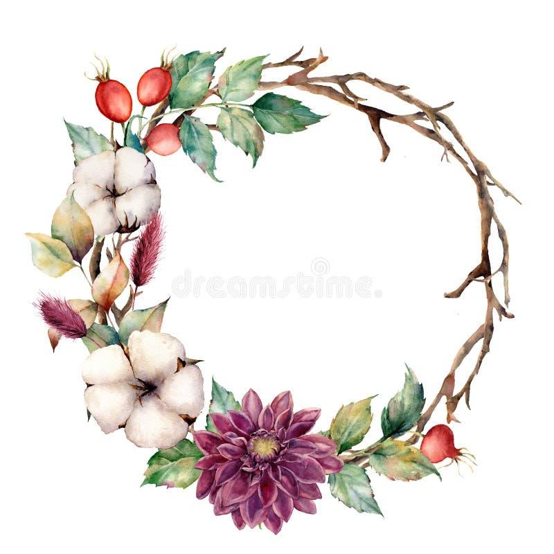 与秋天植物和花的水彩花圈 与棉花,大丽花, dogrose莓果的手画树边界和 库存例证