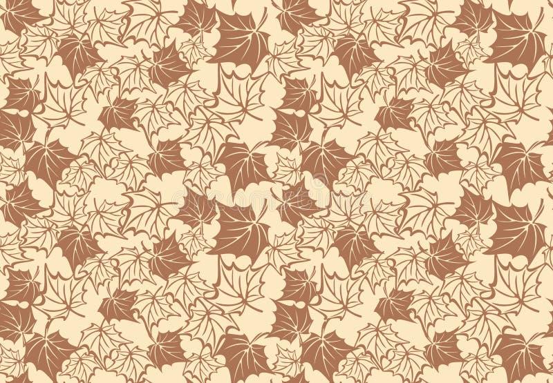 与秋天槭树叶子的无缝的样式 向量 皇族释放例证