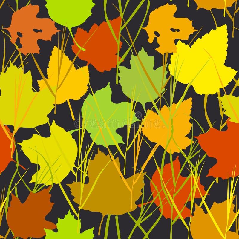 与秋天槭树的传染媒介无缝的背景为时尚纺织品或网背景离开 绿色橙黄米黄剪影o 库存例证