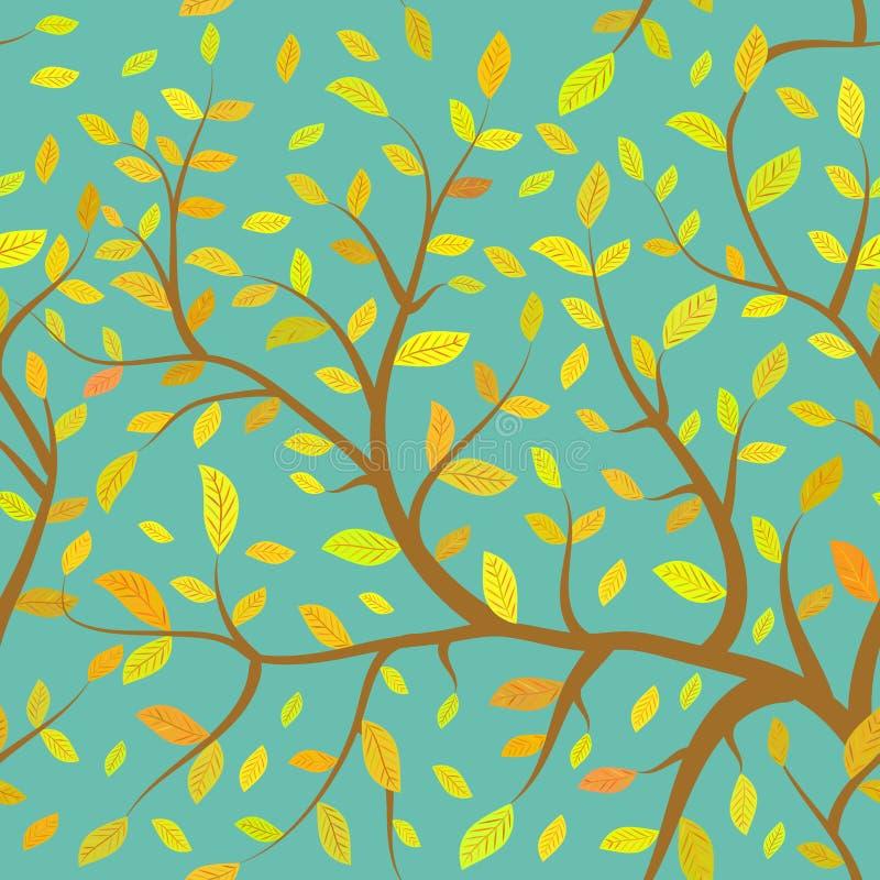 与秋天橙黄色的无缝的样式布朗分支在蓝天背景离开,淡色 向量 向量例证