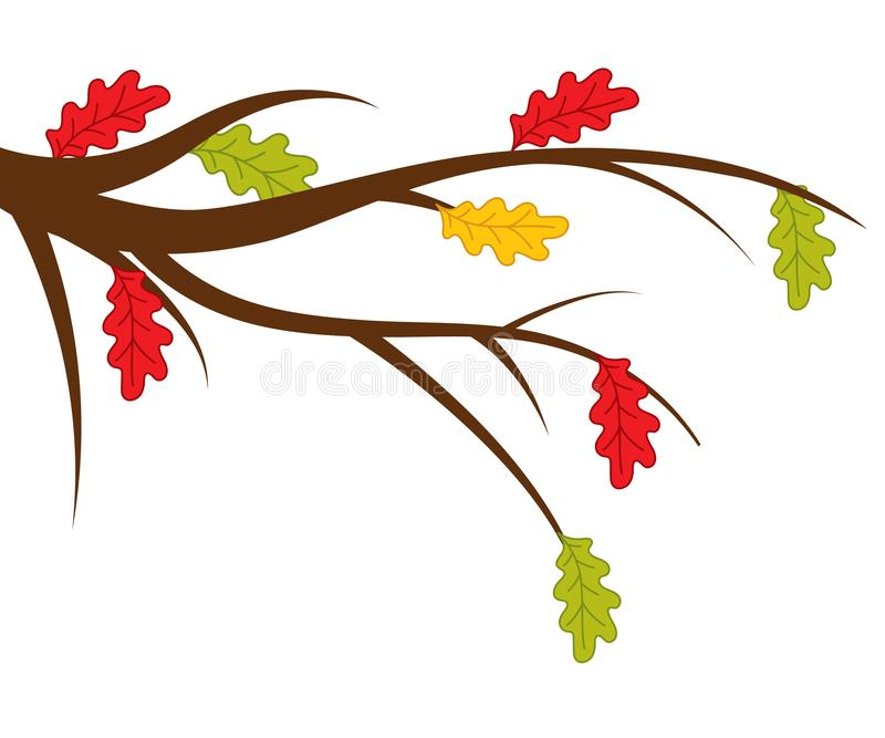与秋天橡木叶子的传染媒介分支 皇族释放例证