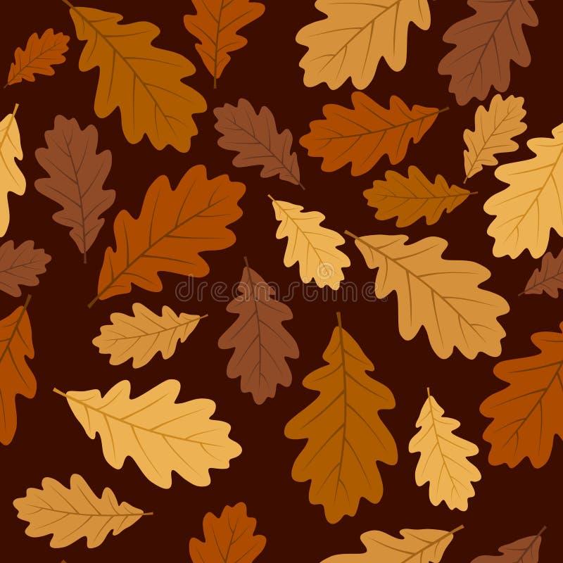 与秋天橡木叶子的无缝的模式。 向量EP 库存例证