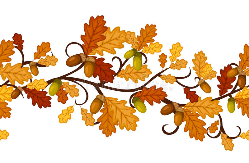 与秋天橡木叶子的水平的无缝的模式 皇族释放例证