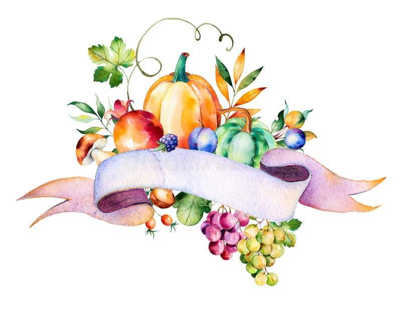与秋天的五颜六色的秋天花束离开,分支,莓果 皇族释放例证