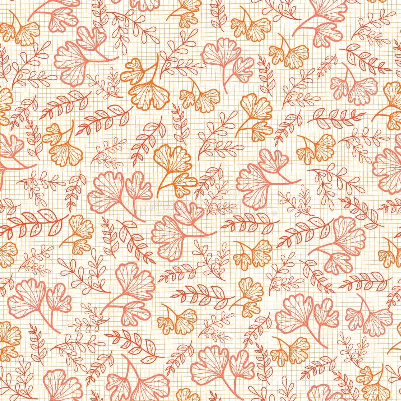 与秋天的传染媒介无缝的样式在亚麻制纹理离开 织品或书套的背景,制造 皇族释放例证