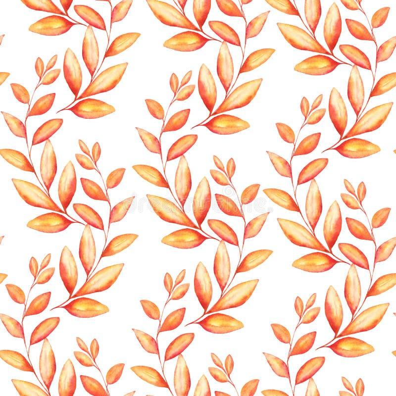 与秋天的水彩例证的无缝的样式为纺织品或成套设计分支为感恩天 皇族释放例证