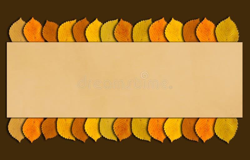 与秋天的秋天和感恩框架上色了叶子 与拷贝空间的下降时间背景您的文本的 库存例证