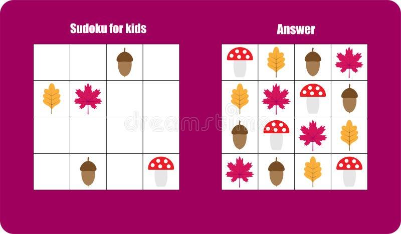 与秋天的Sudoku比赛生动描述蘑菇,孩子的叶子,容易的水平,孩子的教育比赛,学龄前活页练习题活动, 皇族释放例证