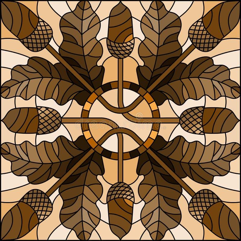 与秋天结构的彩色玻璃例证的橡木叶子和橡子,方形的图象,口气褐色,乌贼属 库存例证