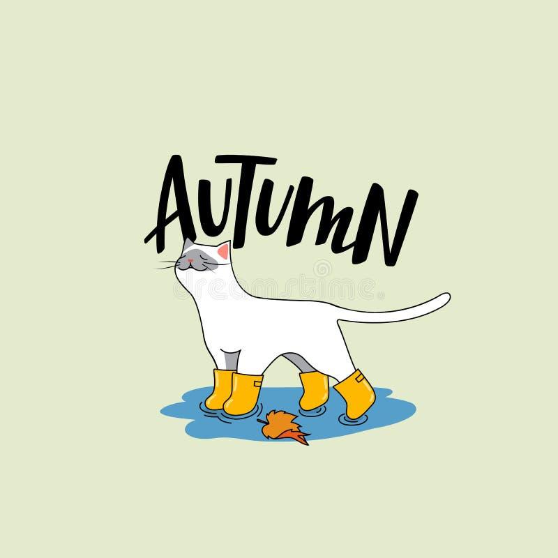 与秋天辅助部件的逗人喜爱的白色猫 与手写的字法的传染媒介卡通人物 库存例证