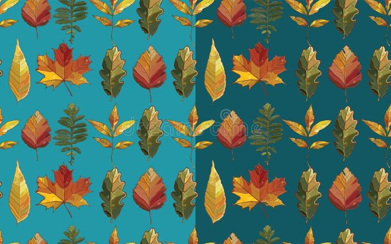 与秋天集合叶子的传染媒介无缝的样式 向量例证