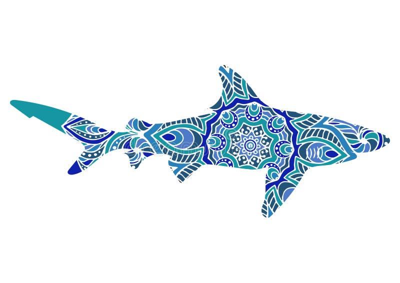 与种族乱画样式的手拉的鲨鱼 上色页- zendala,放松和凝思的成人的,传染媒介 库存例证