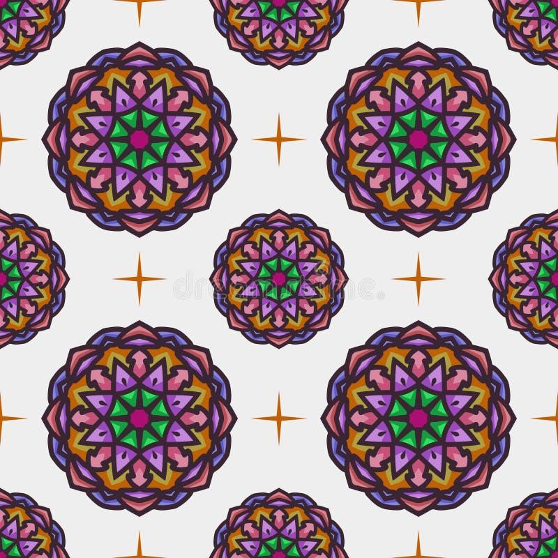 与种族坛场艺术装饰品的无缝的样式 坛场无缝的样式背景 花卉坛场样式背景 库存例证