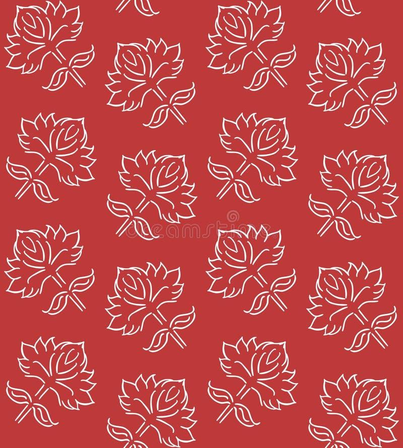 与种族样式手拉的叶子元素的幻想花卉无缝的样式,白色在深红,传染媒介例证 皇族释放例证